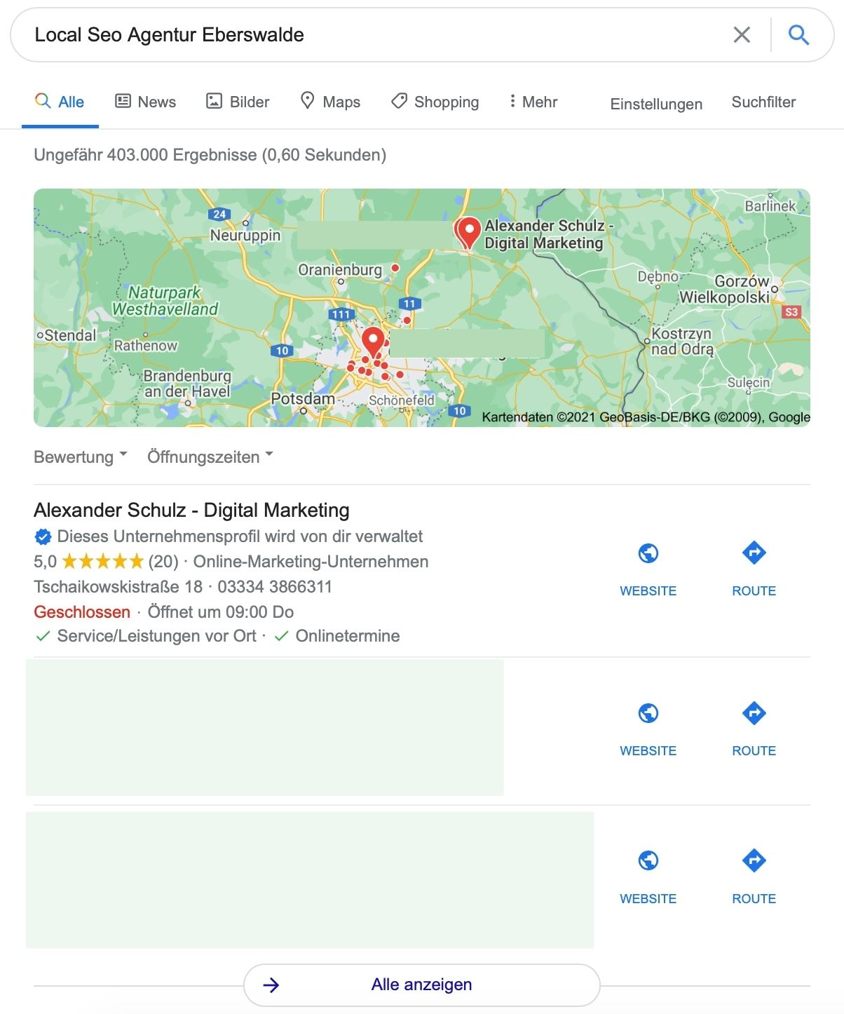 Local Pack - Google my Business Beispiel